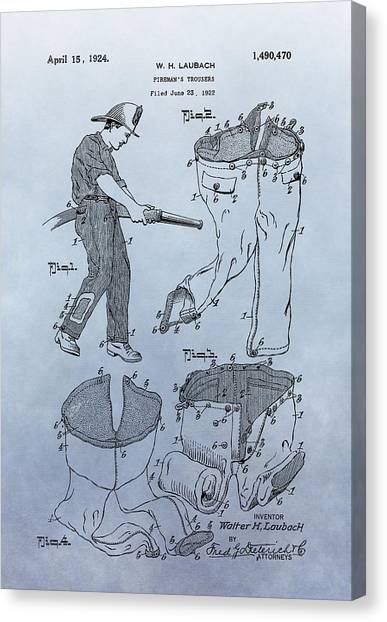 Volunteer Firefighter Canvas Print - Fireman Trousers Patent by Dan Sproul