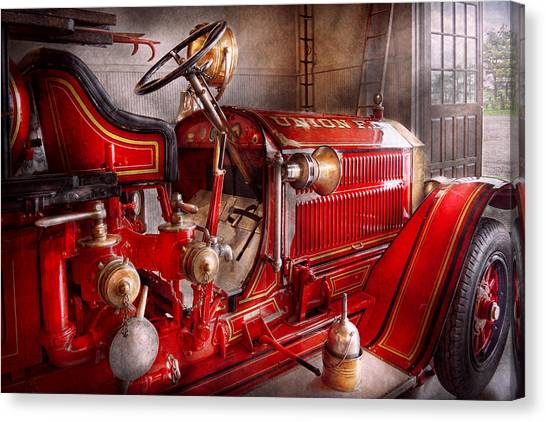 Fireman - Truck - Waiting For A Call Canvas Print