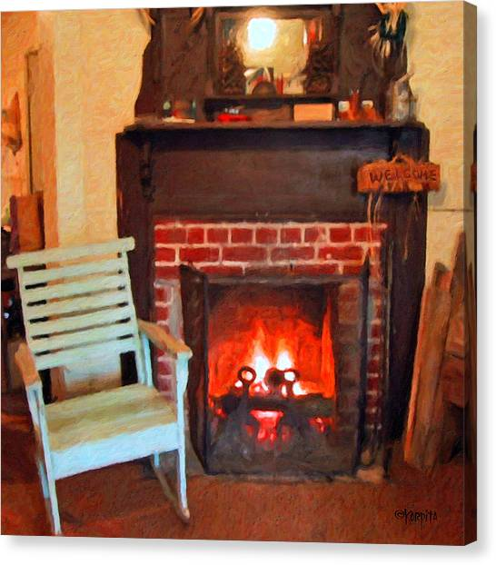 The Family Hearth - Fireplace Old Rocking Chair Canvas Print