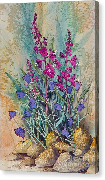 Fireweed And Bluebells Canvas Print