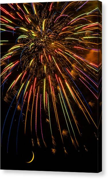 Fireworks Canvas Print - Firework Indian Headdress by Darryl Dalton