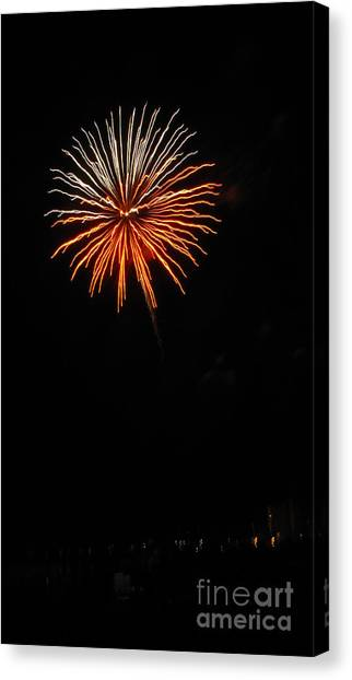 Fireworks - White And Orange Canvas Print by Gayle Melges