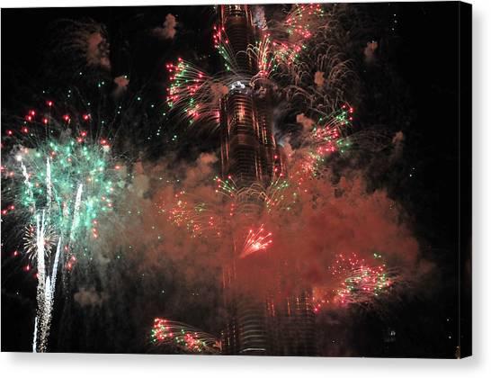 Burj Khalifa Fireworks 6 Canvas Print