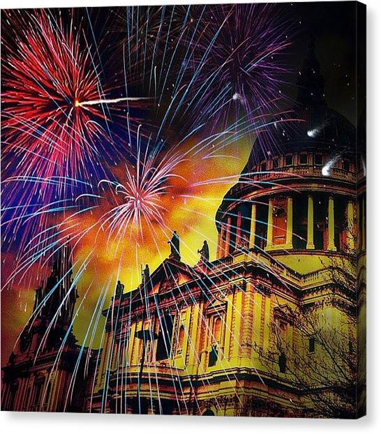 Fireworks Canvas Print - Fireworks Above St. Pauls Cathedral London England by Chris Drake