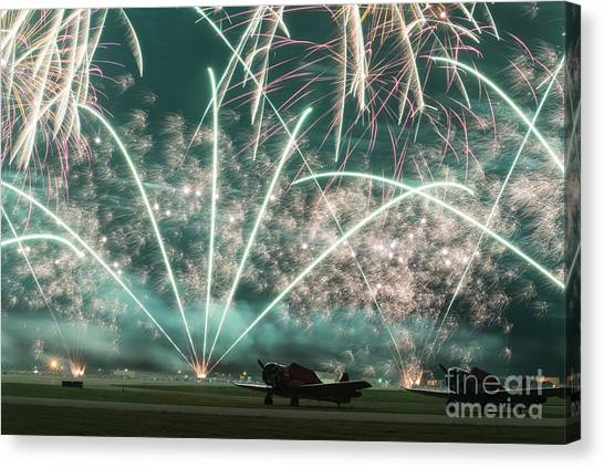 Fireworks And Aircraft Canvas Print