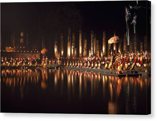 Fireworks At Festival In Thailand Canvas Print by Richard Berry