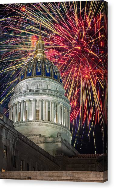 Fireworks At Wv Capitol Canvas Print