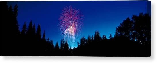 Pyrotechnics Canvas Print - Fireworks, Canada Day, Banff National by Panoramic Images