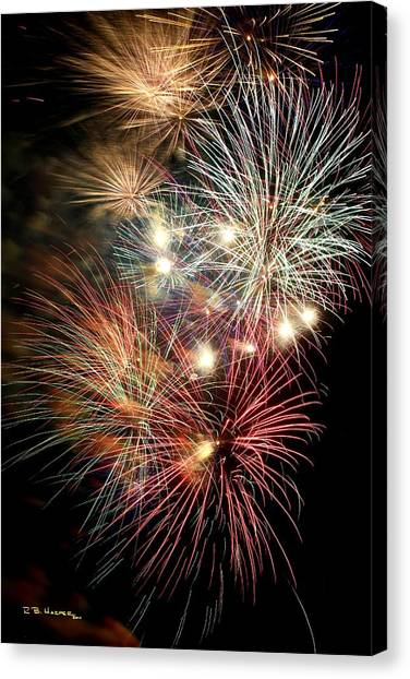 Canvas Print featuring the photograph Fireworks Finale At St Albans Bay by R B Harper