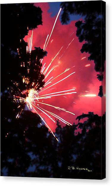 Fireworks Forest Canvas Print