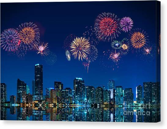 Fireworks In Miami Canvas Print