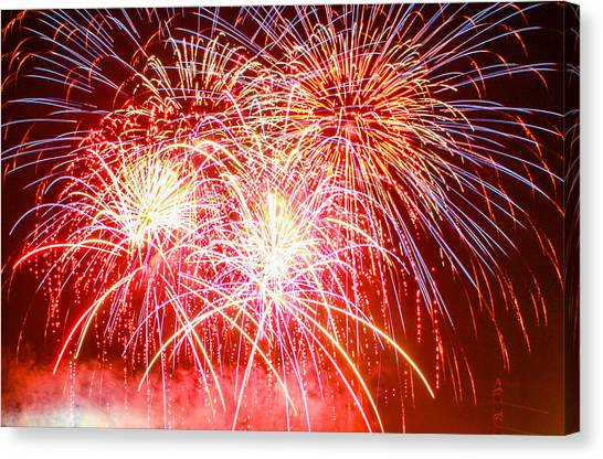 Fireworks In Red White And Blue Canvas Print