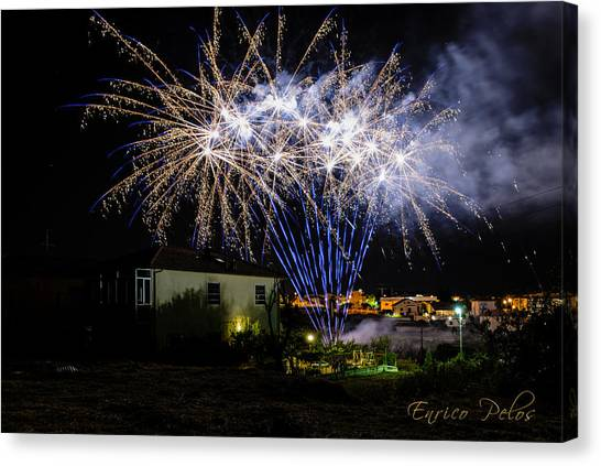 Fireworks In The Garden Canvas Print
