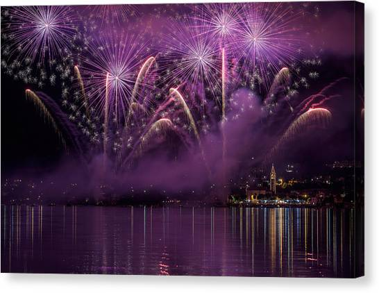 Fireworks Canvas Print - Fireworks Lake Pusiano by Roberto Marini