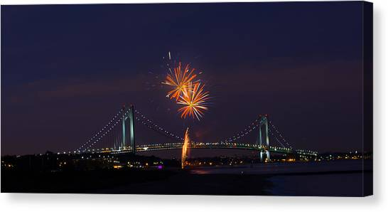 Fireworks On Staten Island South Beach Canvas Print