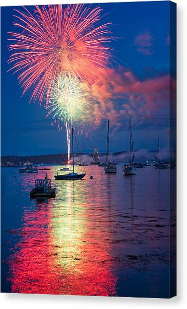 Fireworks Over Boothbay Harbor Canvas Print