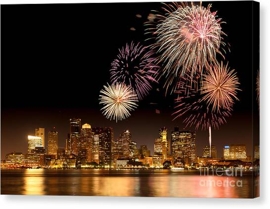Fireworks Over Boston Harbor Canvas Print