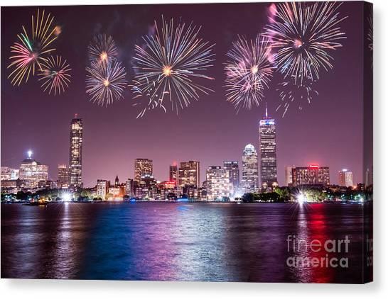 Fireworks Over Boston Canvas Print