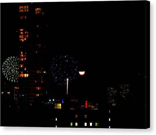 Fireworks Over Miami Moon II Canvas Print