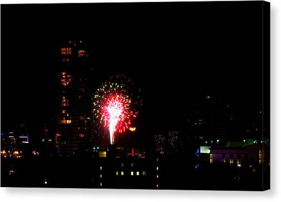 Fireworks Over Miami Moon Canvas Print