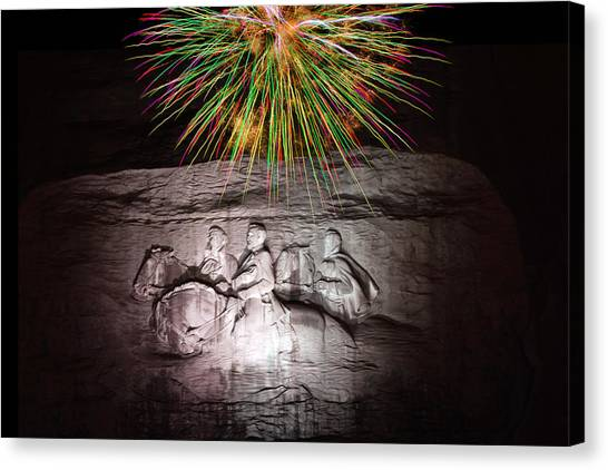 Fireworks Over Stone Mountain Canvas Print
