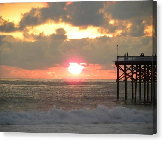 Canvas Print - Firey Sky At The Pier by John Wilson