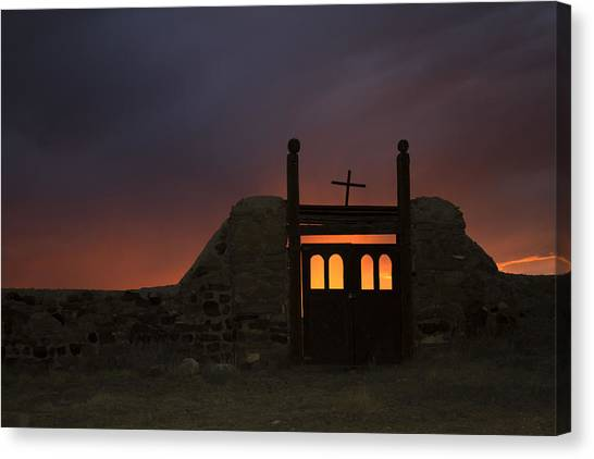 Firey Sunset Canvas Print by Jeanne Hoadley