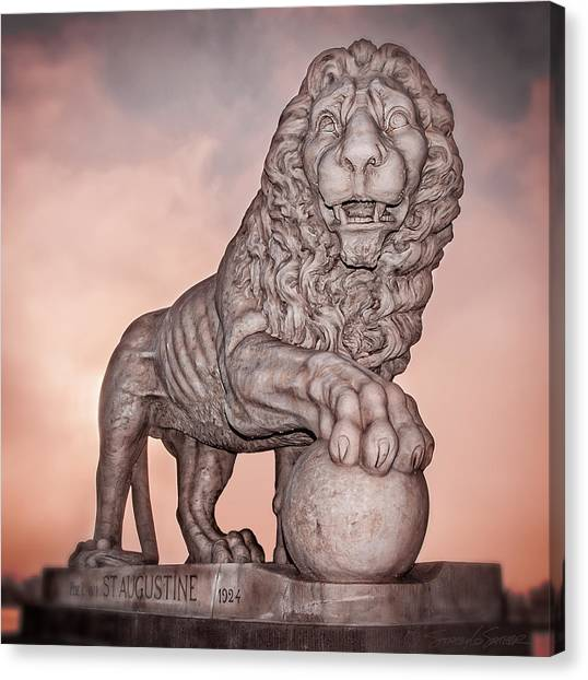 Firm Guarding The Bridge Of Lions Canvas Print