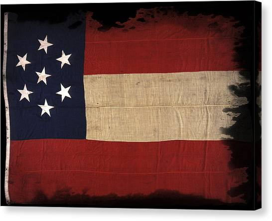 Confederate Army Canvas Print - First Confederate Flag by Daniel Hagerman