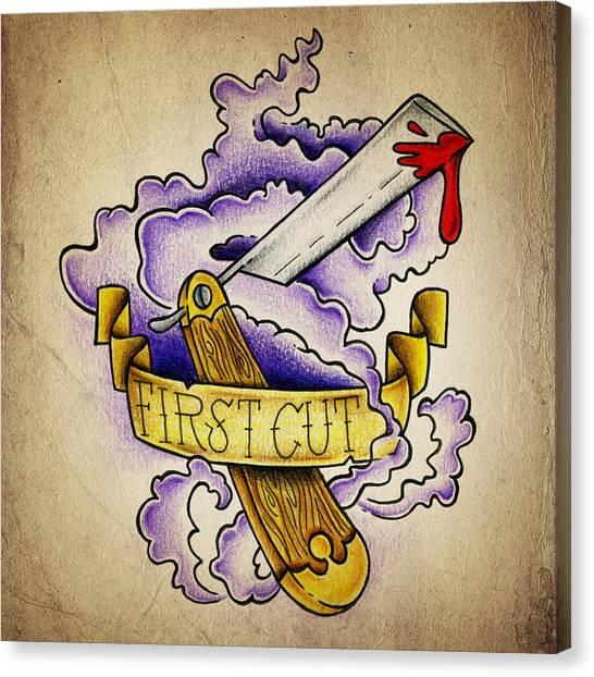 Tattoo Canvas Print - First Cut by Samuel Whitton