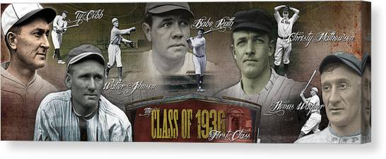 New York Yankees Canvas Print - First Five Baseball Hall Of Famers by Retro Images Archive