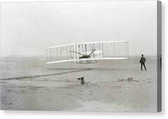 Airplanes Canvas Print - First Flight Captured On Glass Negative - 1903 by Daniel Hagerman