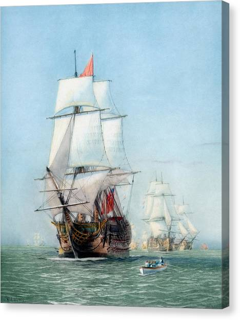 Royal Navy Canvas Print - First Journey Of The Hms Victory by War Is Hell Store