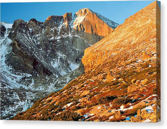 First Light At Longs Peak Canvas Print