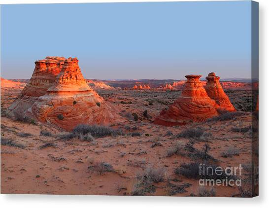 First Light At Teepees Canvas Print