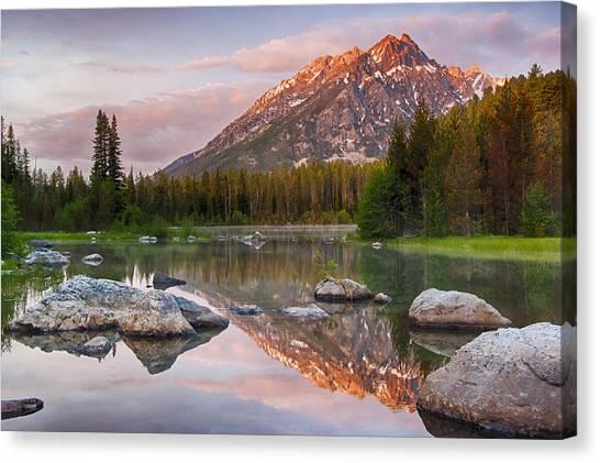 Lake Sunrises Canvas Print - First Light  by Greg Wyatt