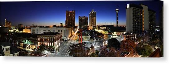 First Light On San Antonio Skyline - Texas Canvas Print