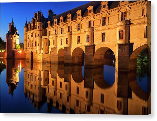 Chenonceau Castle Canvas Print - First Light Of Morning On Chateau by David Santiago Garcia