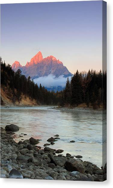 First Light On The Grand Teton Canvas Print