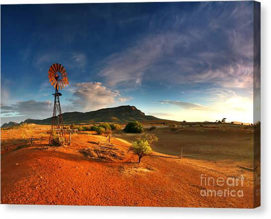 Outdoors Canvas Print - First Light On Wilpena Pound by Bill  Robinson