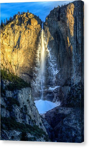 Yosemite Falls Canvas Print - First Light On Yosemite Falls by Mike Lee