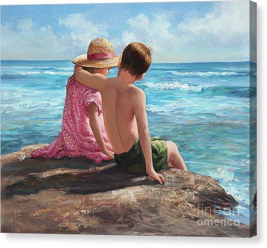 Children On Beach Canvas Print - First Love By The Seashore by Laurie Hein