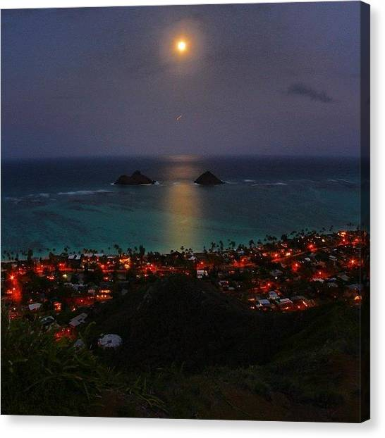Hawaii Canvas Print - First Night Hike Above Lanikai. #hawaii by Brian Governale