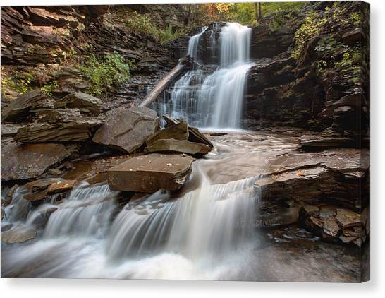 First October Morning Light On Shawnee Falls Canvas Print