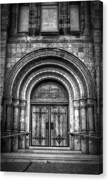 Immigration Canvas Print - First Parish Church Of Plymouth Door by Joan Carroll