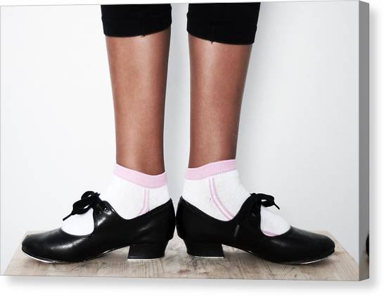 Tap Dance Canvas Print - First Position In Tap Dance Shoes At School by Pedro Cardona Llambias