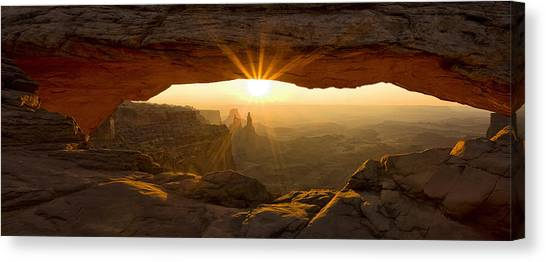 Utah Canvas Print - First Rays At Mesa Arch by Andrew Soundarajan