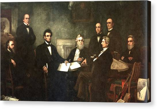 Us Civil War Canvas Print - First Reading Of The Emancipation Proclamation Of President Lincoln by Georgia Fowler