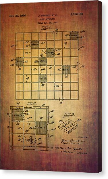 First Scrabble Game Board Patent From 1956  Canvas Print