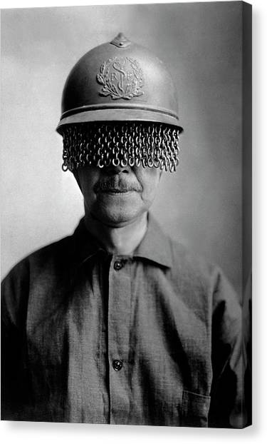 First World War Helmet Eye Screen Canvas Print by Us Army/science Photo Library